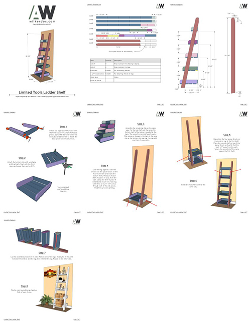 ladder shelf collage