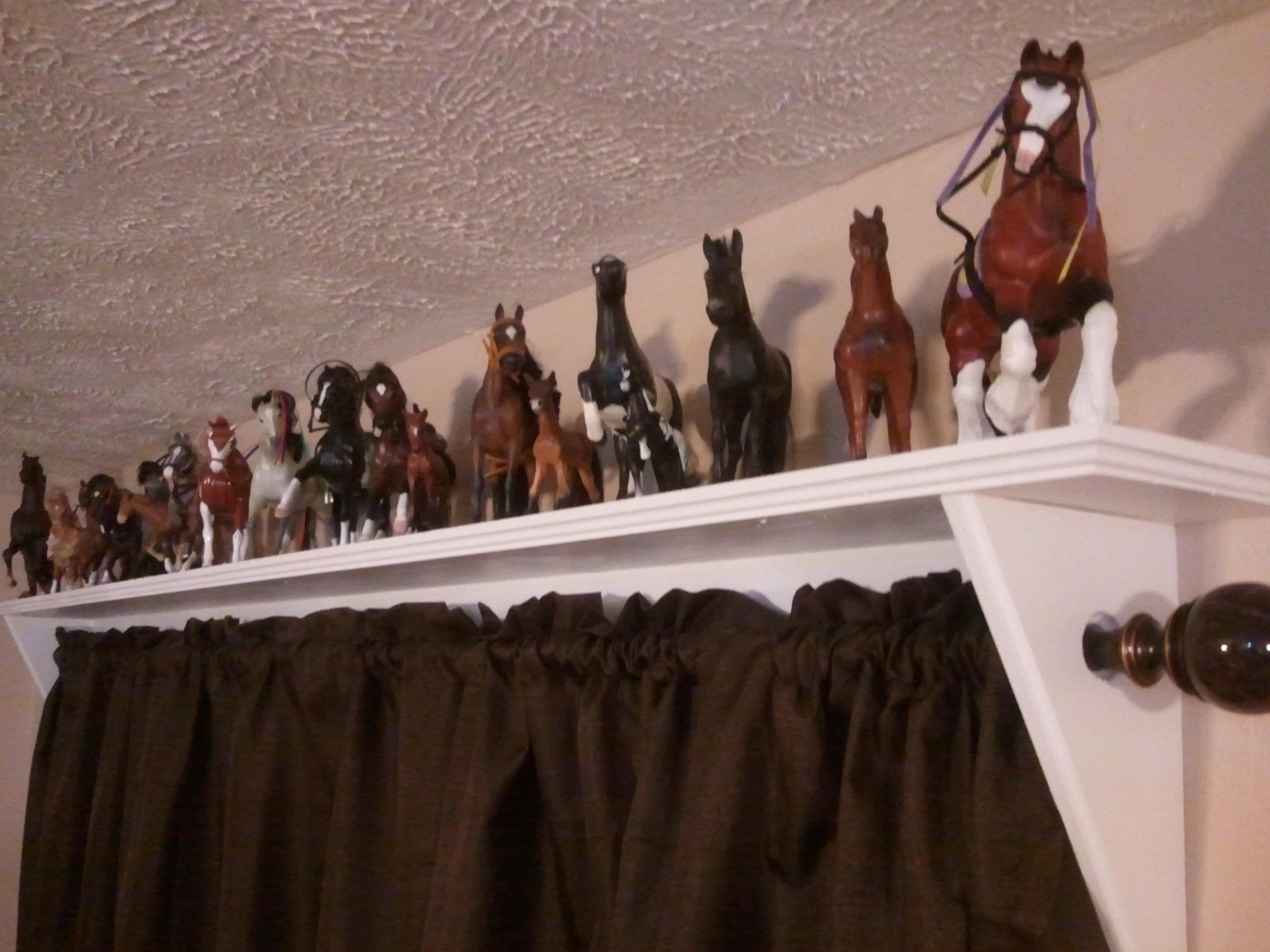 Curtain rod shelves