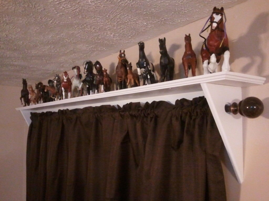 Curtain rod shelves