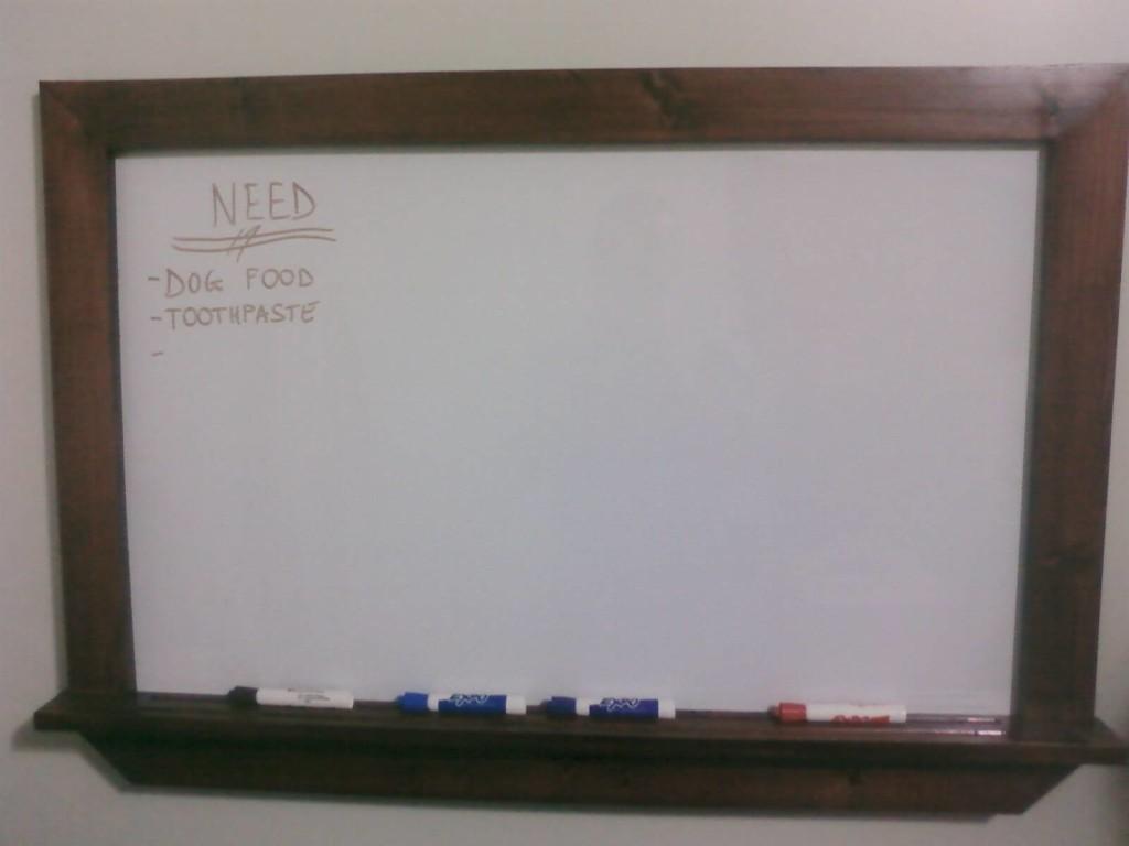 Dresser desk dry erase board