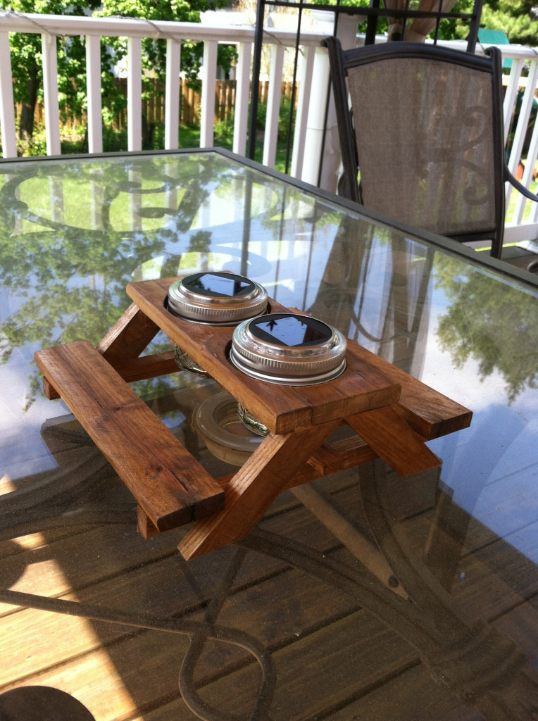 mini picnic table with solar lights
