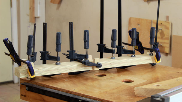 drill press fence clamped