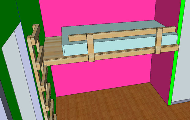 loft bed attached to wall 3