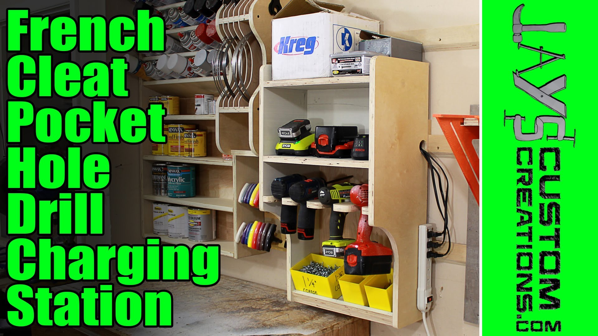 How To Make A French Cleat Pocket Hole Drill Charging Station Jays
