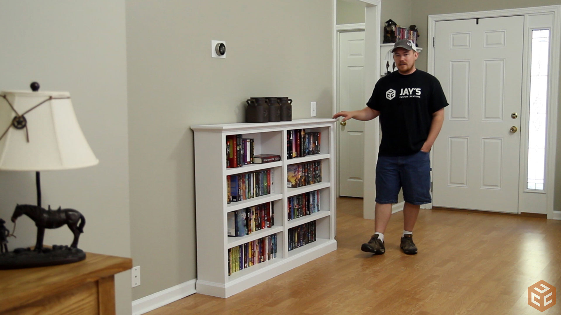 Amazing photo of Here's the completed unfinished bookcase. Quick and easy. with #6A4524 color and 1920x1080 pixels