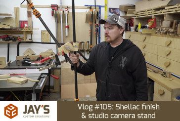Vlog #105: Shellac finish & studio camera stand