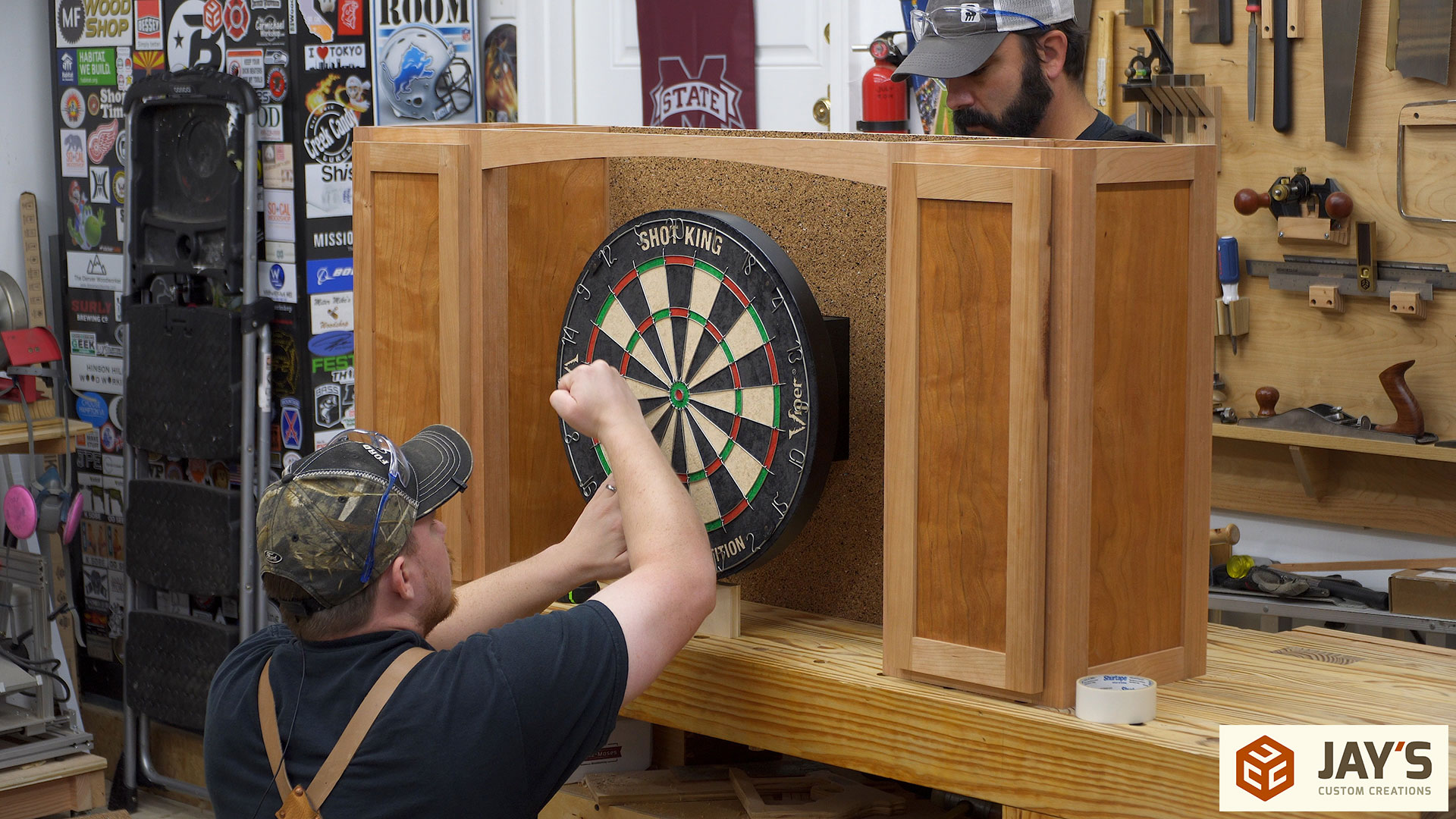 ... Cabinet So We Could Mount The Dartboard. To Make Sure The Dart Board Is  Attached Perfectly Center As Well As Aligned Vertically We Used  Double Sided ...