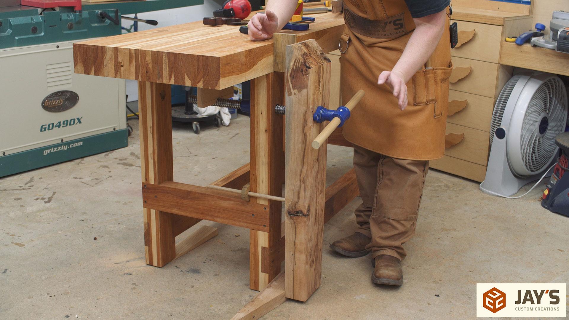 Hickory Workbench Leg Vise And Dog Holes Jays Custom Creations