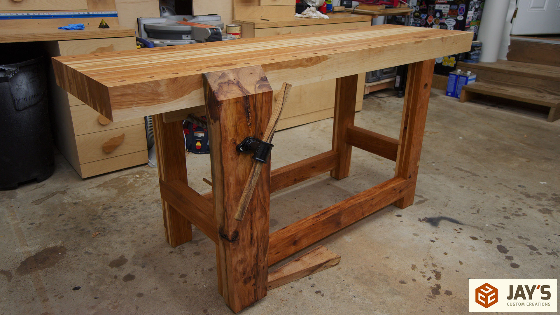 vice jay pallet bates woodshop woodworking pipe bench workbench works jackman installation wood clamp vise