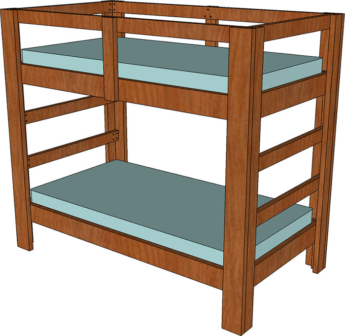 2 4 And 2 6 Twin Bunk Bed Plan Jays Custom Creations